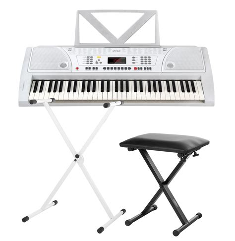 piano stand and bench funkey 61 keyboard set white incl keyboard stand and