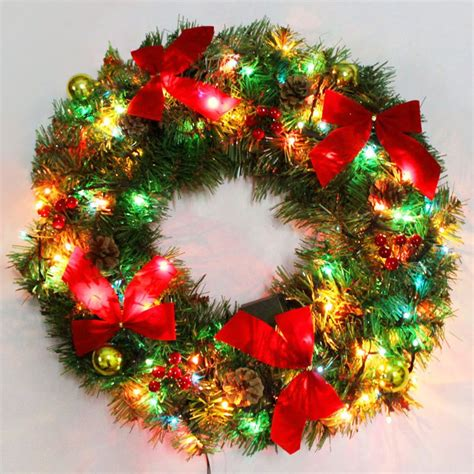 bowknot christmas wreath with led lights in sammydress com
