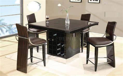 Wine Bar Table Wenge Zebrano High Gloss Finish Modern Bar Table W Wine Rack