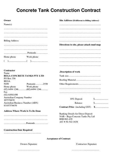 concrete work receipt template concrete contractor contract template search