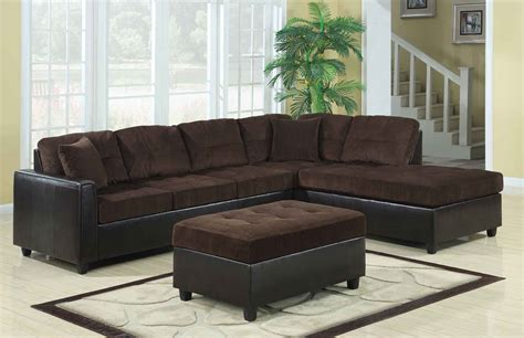 Chocolate Couches by Coaster Henri Reversible Sectional Sofa Set Chocolate