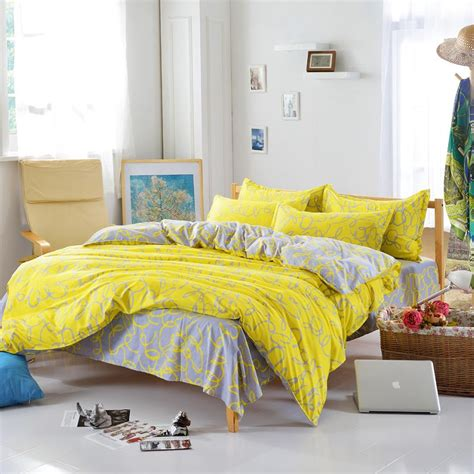 softest affordable sheets cheap line printed duvet cover yellow and gray plain bedlinen cozy soft bedspread bedding set