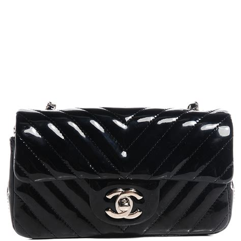 chanel patent chevron quilted mini flap black 84473
