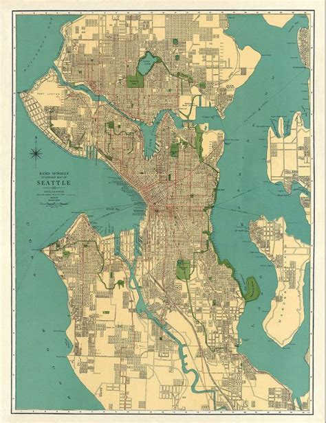 seattle map print map of seattle antique map vintage map seattle