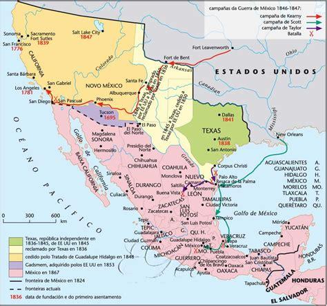 map de mexico y usa historia y geograf 237 a estados unidos y m 233 xico siglo xix