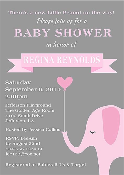 Pink Elephant Baby Shower Ideas by Elephant Baby Shower Invitations Baby Shower