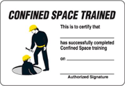 confined space card template confined space