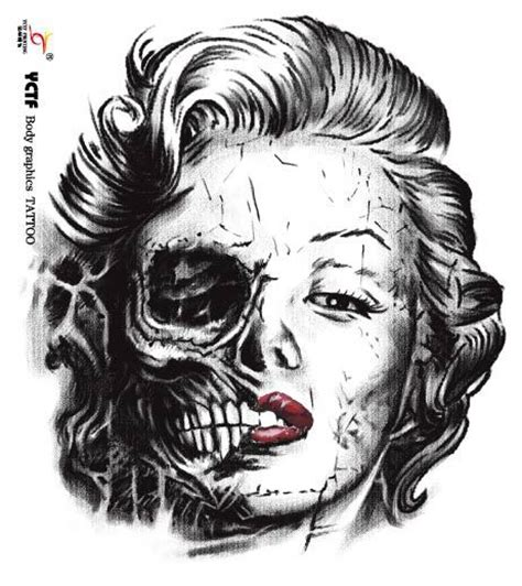 marilyn monroe skull tattoo designs skull marilyn skull design idea stencil