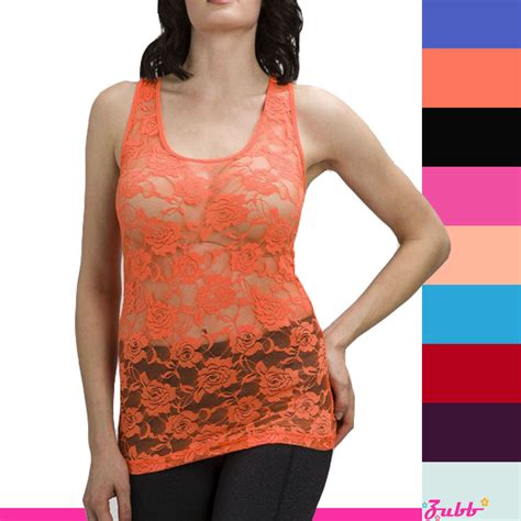 Lace Sabrina Camisole Tangtop floral lace stretch racer back cami shirts slimming mesh tank top shirt ebay