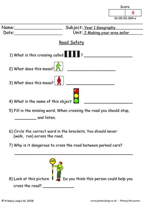 Safety For Worksheets by Road Safety Primaryleap Co Uk