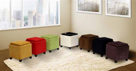 red microfiber square storage ottoman with serving tray
