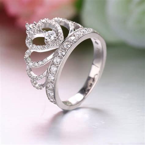 925 sterling silver princess crown ring with cz inlaid
