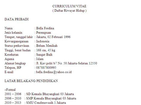 membuat cv untuk lulusan sma contoh cv curriculum vitae daftar riwayat hidup untuk