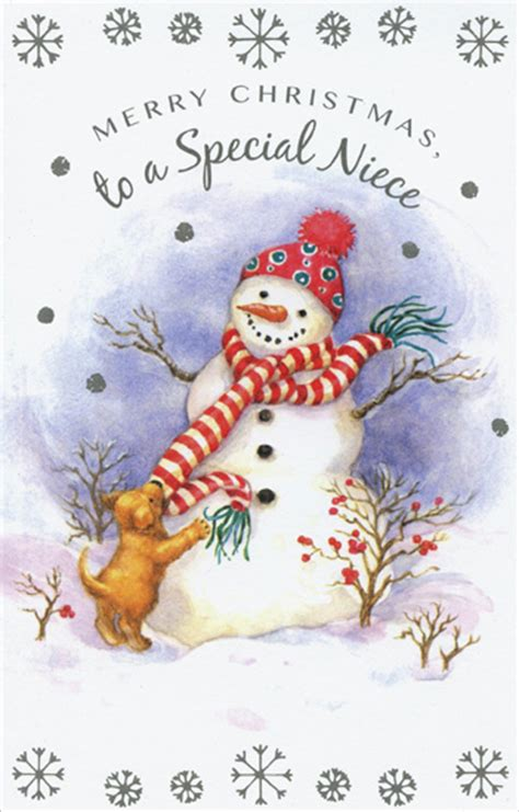 snowman puppy niece christmas card  freedom
