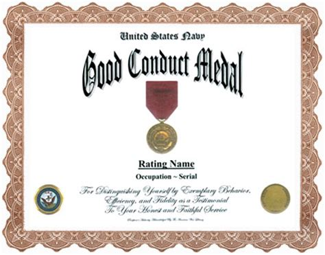 army good conduct medal certificate nsn