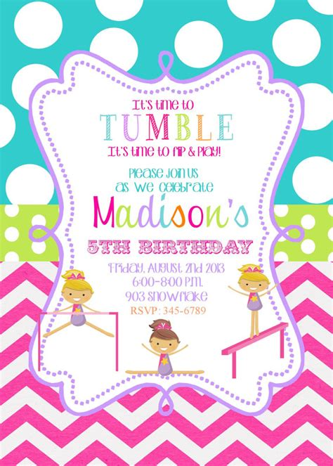 gymnastics birthday party invitations printable or by