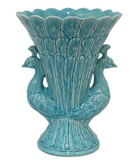 turquoise peacock vase