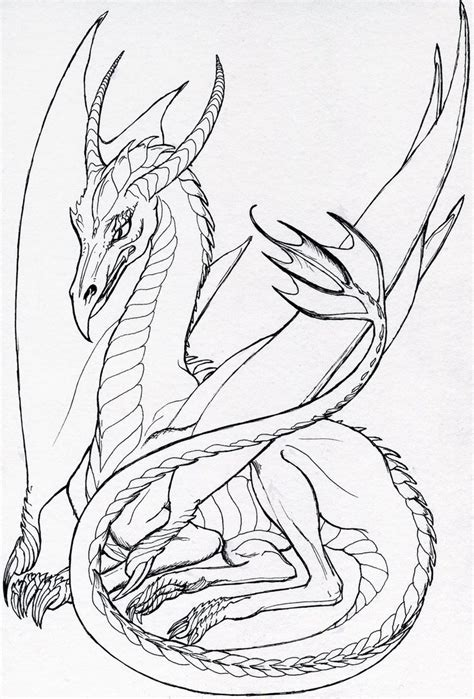 resting dragon lineart by hareguizer on deviantart