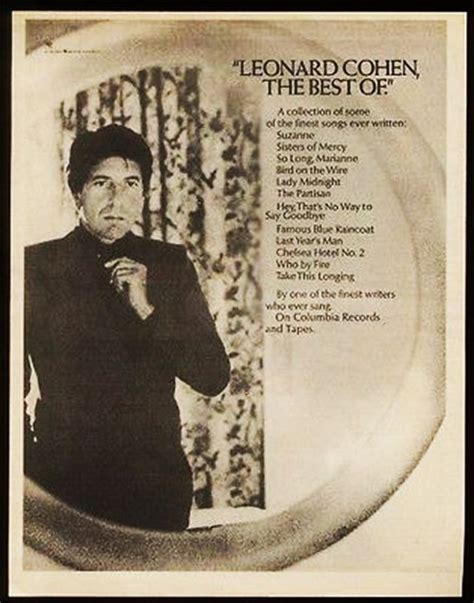 the best of leonard cohen signs of leonard cohen best of leonard cohen print ad
