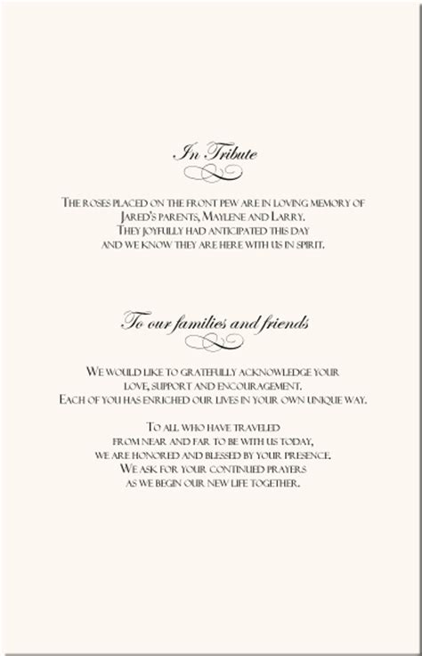 the design of wedding program thank you wording criolla rose wedding program exles wedding program wording