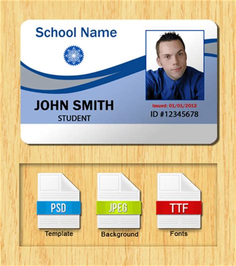 id card photoshop template free student id templates