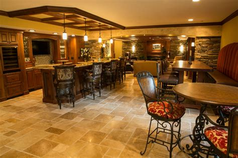 Faux Wood Floors tuscan style traditional basement detroit by
