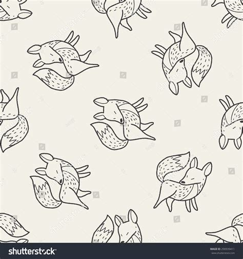 how to do foxtrot on doodle fit fox doodle seamless pattern background stock vector