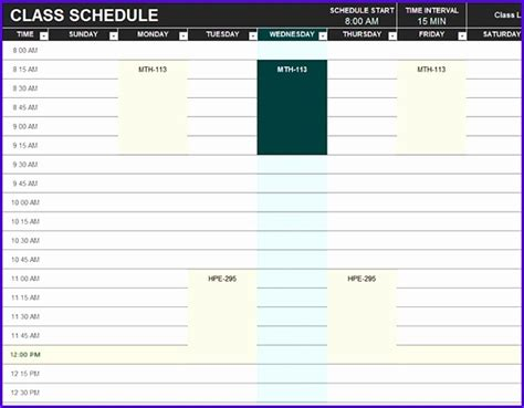 6 Excel Class Schedule Template Exceltemplates Exceltemplates Excel Student Schedule Template Help