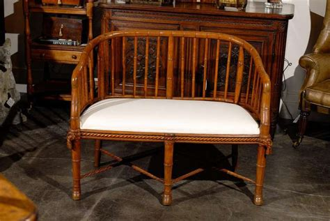 wood settee bench seat french faux bamboo wood tub shaped back settee with
