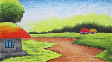 how to draw a boat with oil pastels nature drawing with colour how to draw a village landscape