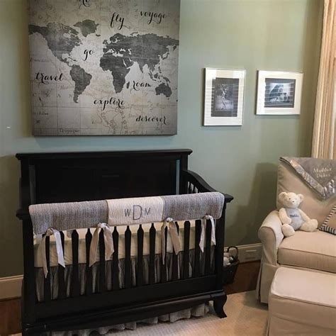 baby boy themed rooms grey crib bedding in a travel theme nursery and we added