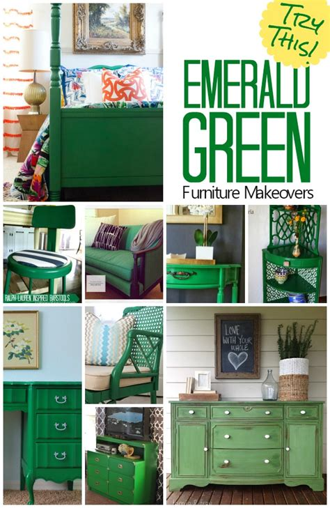 green kitchen furniture try this emerald green furniture makeovers four