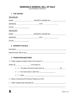 boat bill of sale nebraska nebraska bill of