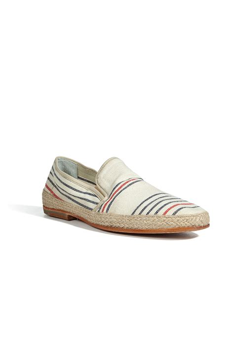 ndc ecru navy striped canvas shoes in beige for navy