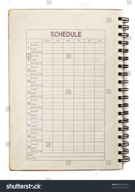 Schedule Notebook schedule s page for student in spiral notebook stock