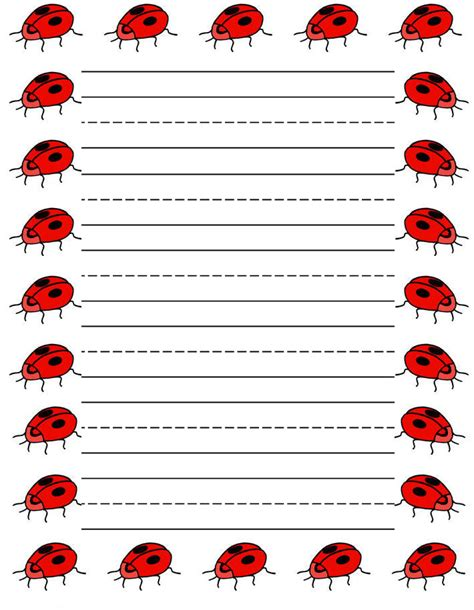 printable insect writing paper ladybugs free printable stationery for kids primary lined