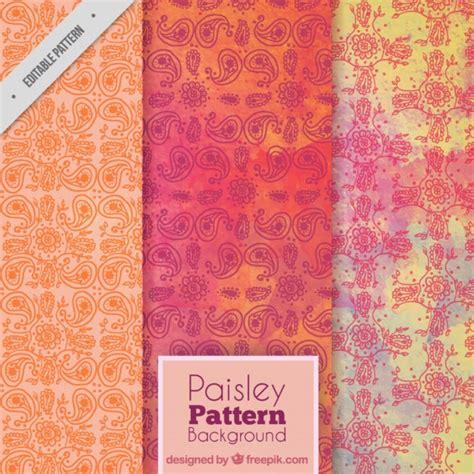 paisley pattern ai free paisley pattern set in orange tones vector free download
