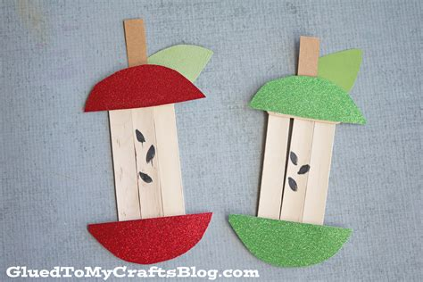craft activity for popsicle stick apple kid craft glued to my crafts