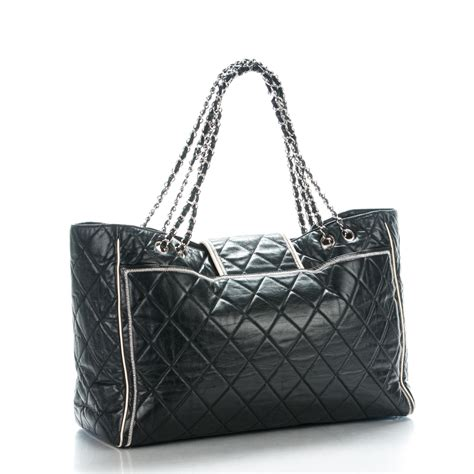 Chanel Large Lambskin Tote by Chanel Lambskin Quilted East West Large Tote Black 172725