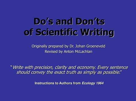 do and don ts of business letters ppt do 226 s and don 226 ts of scientific writing powerpoint