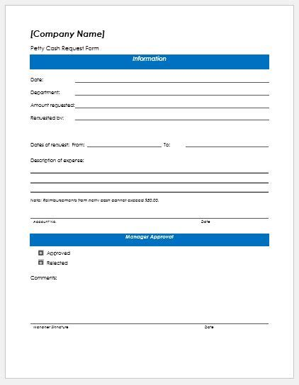 petty cash request form templates formal word templates