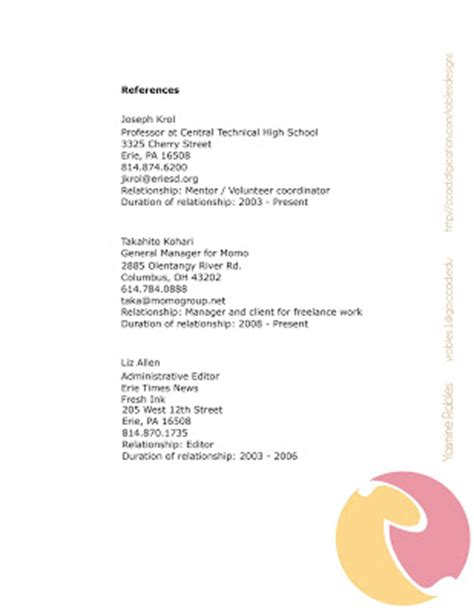 layout for resume references pi 241 a colada designs layout of resume