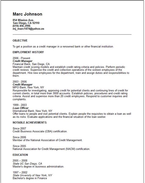 Credit Manager Cover Letter Banking And Insurance Resume Exles