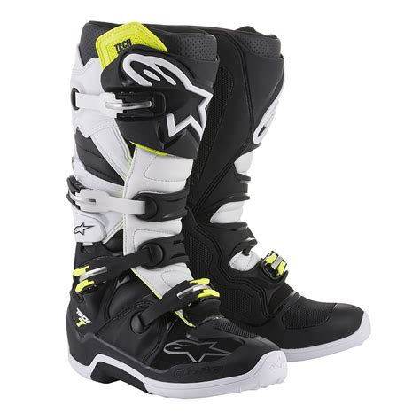 alpinestar motocross boots alpinestars tech 7 boots black white sixstar racing