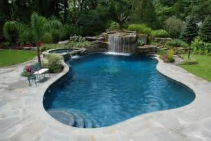 tropical backyard waterfalls allendale nj cipriano landscape design and custom swimming pools