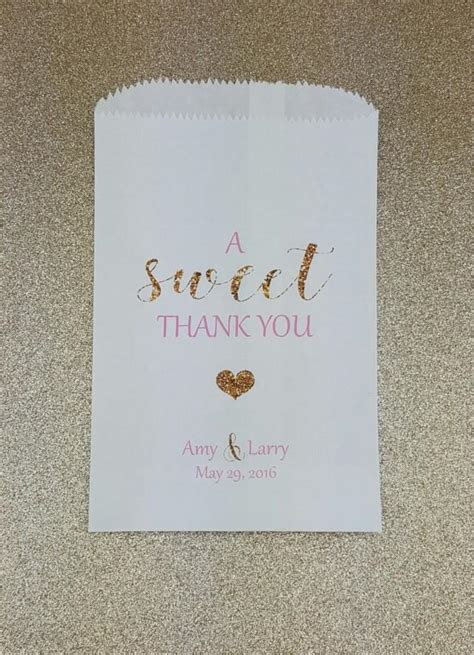 A Sweet Thank You Wedding Candy Bag Wedding Candy Buffet Personalized Bags For Buffet