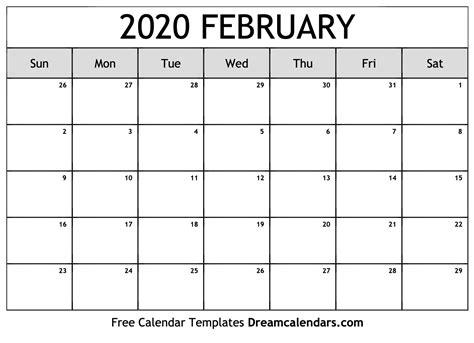 blank february  printable calendar