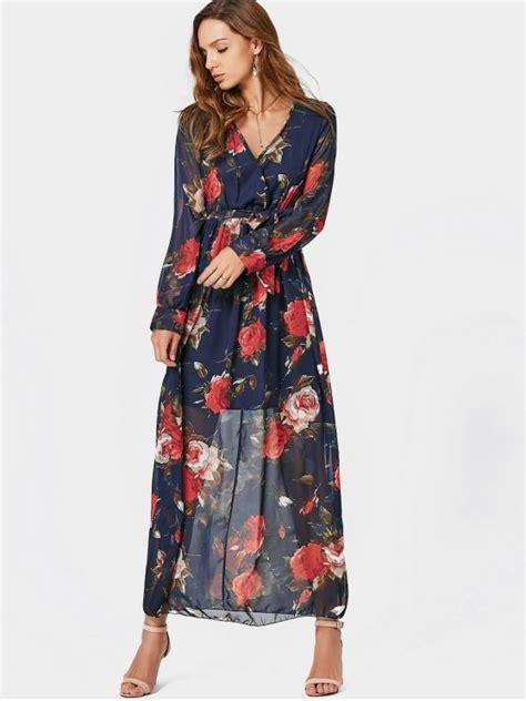 Trend Alert Floral Shirtdresses by V Neck Floral Print Belted Maxi Dress Floral Maxi Dresses