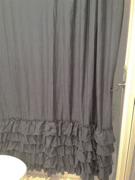 grey ruffle shower curtain gray linen ruffle shower curtain curtain menzilperde net