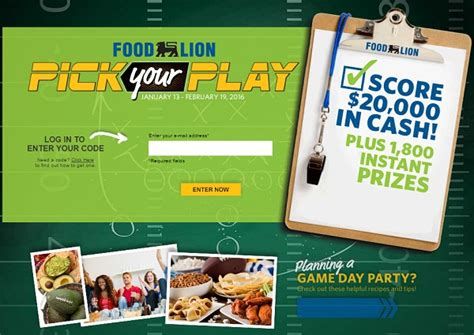 Instant Win Cash - foodlion com pick your play instant win game win cash or